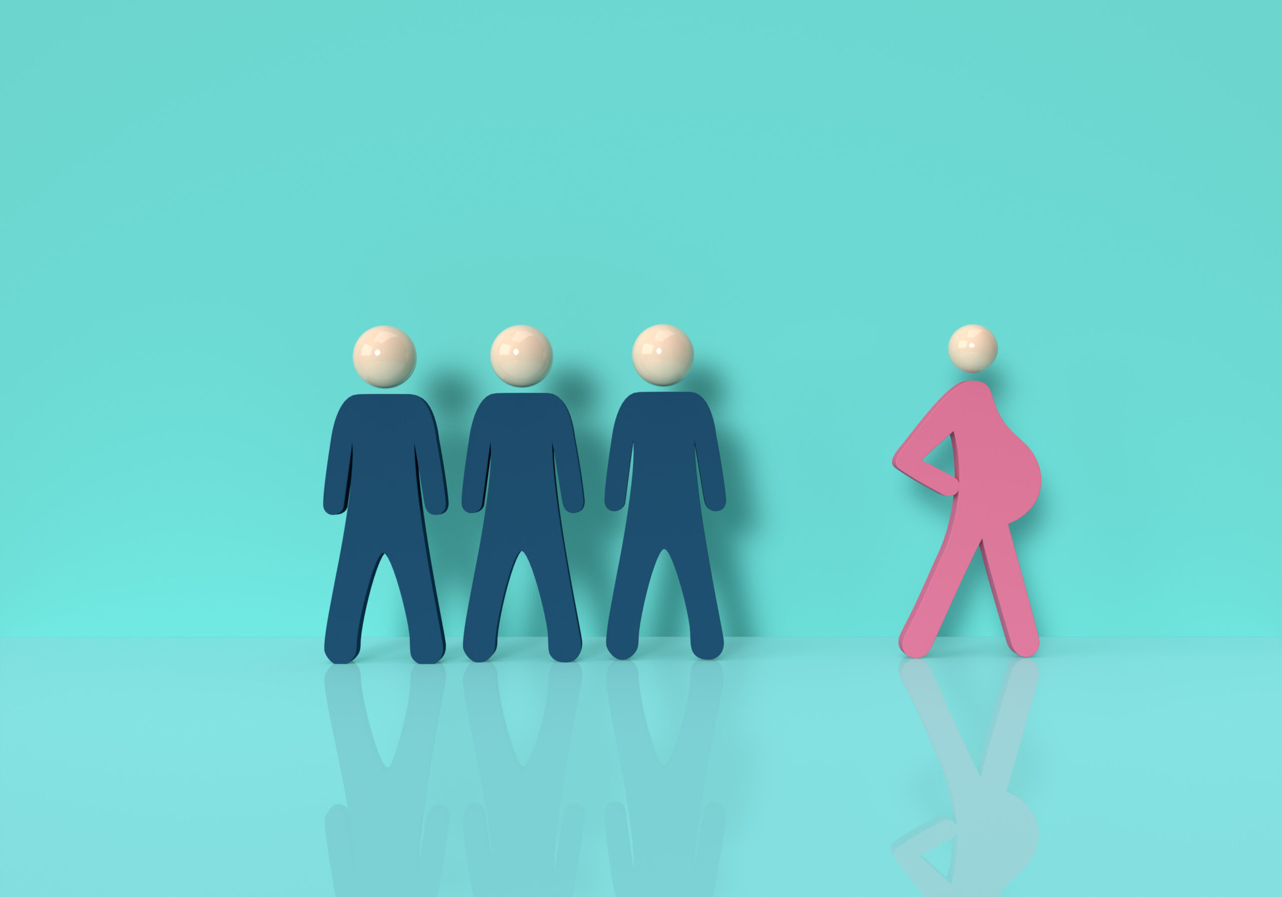 3d,Rendering,Of,Pregnant,Female,Walking,Near,Group,Of,Men